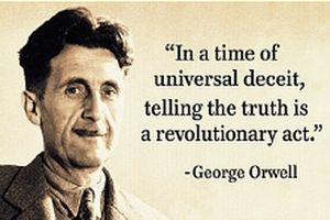 "George Orwell ""In A Time Of Universal Deceit..."" Quote Steel Fridge Magnet (ep)"